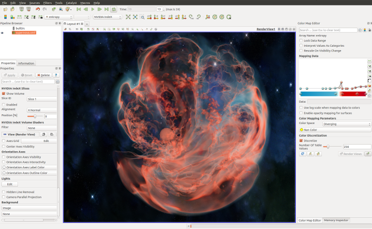 Supernova rendered in ParaView using NVIDIA IndeX